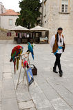 Parrots and Man. DUBROVNIK, CROATIA - MAY 16, 2013: A man shows parrots trained to tourists in the city of Dubrovnik, Croatia. On 16 May 2013 in Dubrovnik Royalty Free Stock Image