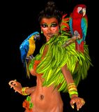 Parrots on sexy womans shoulders with feathers. Royalty Free Stock Images