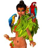 Parrots on sexy womans shoulders with feathers. Parrots on sexy woman's shoulders with green feathers. These colorful macaw parrots could not have found a Stock Images