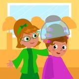 Parrucchiere e donna del fumetto 60s Fotografia Stock