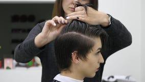 Parrucchiere professionista, stilista che pettina capelli del cliente femminile nel salone di capelli professionale Bellezza e co stock footage