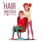 Parrucchiere And Woman Vector Salone di bellezza hairbrush haircut designazione Illustrazione piana isolata del fumetto illustrazione vettoriale