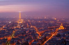 París (Francia) en la puesta del sol Fotografía de archivo