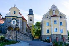 Parsberg panorama z St Andrew kościół przy niebieskiego nieba Bavaria Niemcy zdjęcia stock
