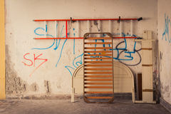 Parsed bed on wall background. In Venice, Italy Royalty Free Stock Photography