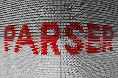 PARSER. As binary code background 3D illustration stock illustration