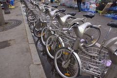 Parsian city cycle scheme bikes Stock Images