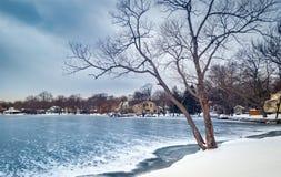 冻Parsippany湖,在摩里斯县,新泽西 免版税库存图片