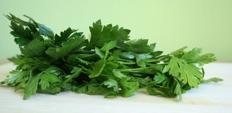 Parsley. A bunch of parsley on chopping board royalty free stock image