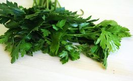 Parsley. A bunch of parsley on chopping board royalty free stock photography