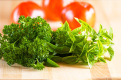 Parsley basil and tomatoes on cutting board Stock Image
