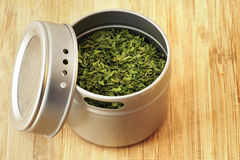 Parsley flakes in aluminum shaker Royalty Free Stock Photos