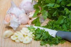 Parsley and garlic Royalty Free Stock Photo