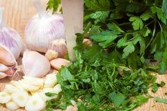 Parsley and garlic Royalty Free Stock Photography