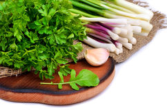 Parsley, green onion, garlic, rocket salad on cutting Stock Images