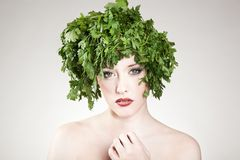 Parsley haired woman Royalty Free Stock Photography