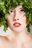 Parsley haired woman Stock Photography