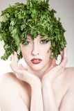 Parsley haired woman Royalty Free Stock Photos