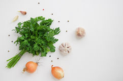 Parsley, onions and garlic Stock Images