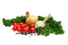 Parsley, onions. garlic, tomatoes, peppers Royalty Free Stock Images