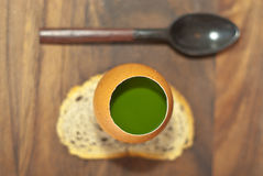 Parsley parfait with spoon stock photo