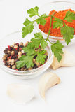 Parsley, peppercorn and ground chili pepper Stock Images