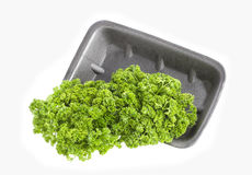Parsley in plastic box or plate isolated on white background Stock Images