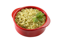Parsley Rice. Recipient with rice recipe, rice with parsely, butter, saffron and spices Royalty Free Stock Image
