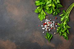 Parsley, salt and pepper. Culinary background. Parsley, salt and pepper. Herbs and spices. Culinary background. Top  view Royalty Free Stock Photo