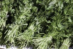 Parsley stacked on grocery shop stock photo