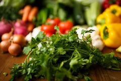 Parsley with vegetables. On table Stock Photography