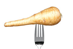 Parsnip On A Fork Isolated On White