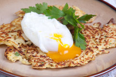 Parsnip pancakes with egg Stock Photo