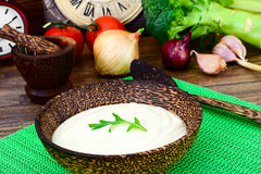 Parsnip Puree Soup with Cream, Dill, Onion, Cranberries stock image