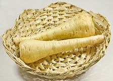 Parsnips in basket Royalty Free Stock Image