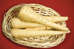 Parsnips in basket Stock Images