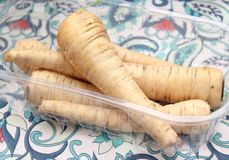 Parsnips. A bundle of fresh, raw, brown parsnips Royalty Free Stock Photo
