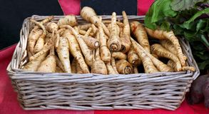 Parsnips. On sale at the farmer`s market Stock Photos
