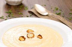 Parsnips soup with roasted parsnips Royalty Free Stock Images