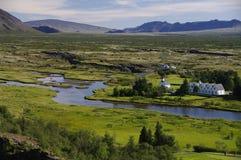 Parsonage et église chez Pingvellir, Islande image libre de droits