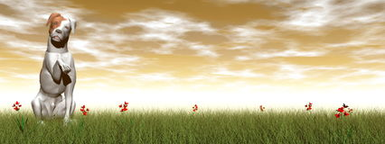 Parsons dog - 3D render. Parsons dog saying hello with its paw sitting in the grass by sunset - 3D render stock illustration