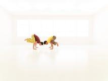 Parsva bakasana yoga partners Royalty Free Stock Photos