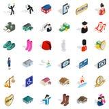 Parsymbolsuppsättning, isometrisk stil stock illustrationer