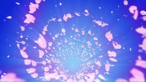 Partícula brillante espiral de flores de cerezo Sakura Pattern Baile japonés de la cereza Vórtice de los pétalos rosados Animació almacen de metraje de vídeo
