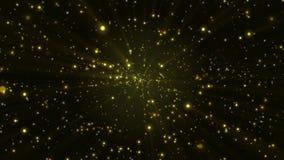 Partículas brillantes del brillo moverse suavemente en el fondo negro, dinámica, animación metrajes