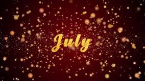 Partículas brillantes del texto de la tarjeta de felicitación de julio para la celebración, festival metrajes