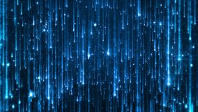 Partículas brillantes que caen Starfall en un fondo oscuro con los asteriscos brillantes y que brillan intensamente colocado almacen de video