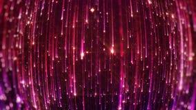 Partículas brillantes que caen Starfall en un fondo oscuro con los asteriscos brillantes y que brillan intensamente colocado almacen de metraje de vídeo
