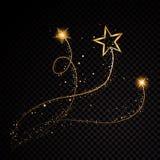 Partículas chispeantes de estrella del oro que brillan del rastro espiral del polvo en fondo transparente Cola del cometa del esp ilustración del vector
