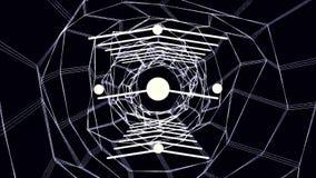 Partículas cibernéticas HUD Background de la ciudad de Digitaces con las líneas modelo con los cubos y la luz de destello fondo r Fotos de archivo